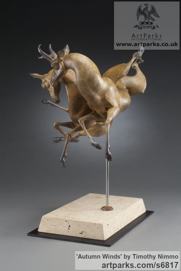 Bronze Deer sculpture by sculptor Timothy Nimmo titled: 'Autumn Winds (abstract Antelope Buck Doe sculptures)' - Artwork View 4