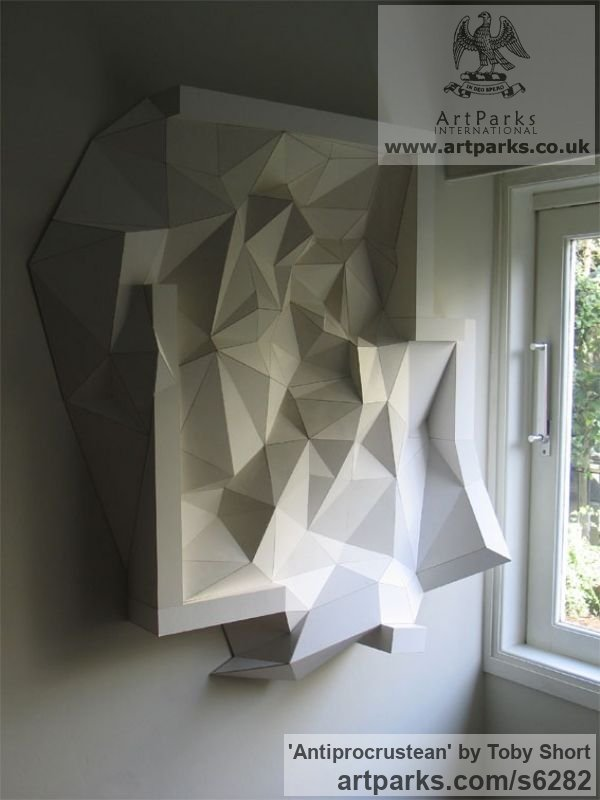 Mountboard Wall Mounted or Wall Hanging sculpture by sculptor Toby Short titled: 'Antiprocrustean (Crystal High Relief Wall Mounted statue)'