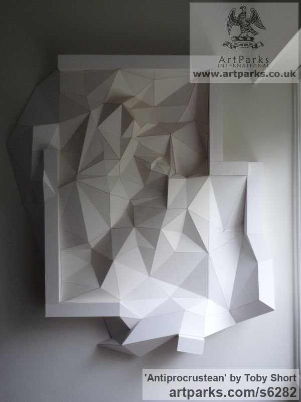 Mountboard Wall Mounted or Wall Hanging sculpture by sculptor Toby Short titled: 'Antiprocrustean (Crystal High Relief Wall Mounted statue)' - Artwork View 2
