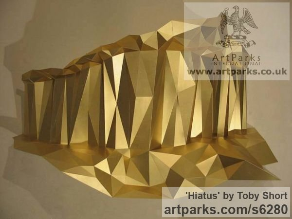Foil-backed mountboard Wall Mounted or Wall Hanging sculpture by sculptor Toby Short titled: 'Hiatus (Cristaline Rock Formation Interior Wall Decoration)'