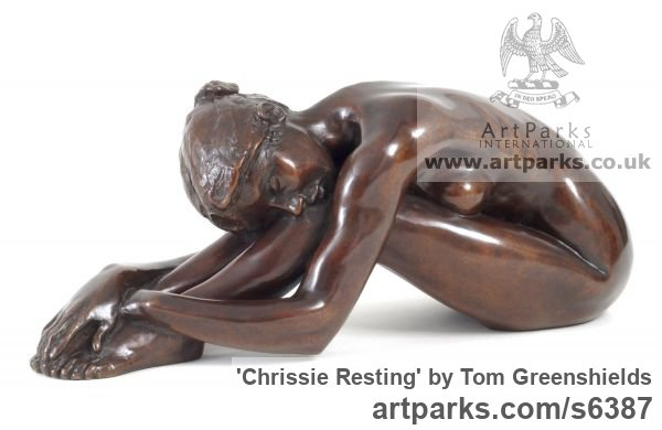 Resin Bronze Females Women Girls Ladies sculpture statuettes figurines sculpture by sculptor Tom Greenshields titled: 'Chrissie Resting (Small Little nude Naked Girl Seated statue figurine)'