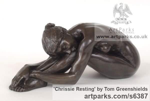 Resin Bronze Females Women Girls Ladies sculpture statuettes figurines sculpture by sculptor Tom Greenshields titled: 'Chrissie Resting (Small Little nude Naked Girl Seated statue figurine)' - Artwork View 2
