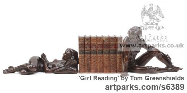 Resin Copper Females Women Girls Ladies sculpture statuettes figurines sculpture by sculptor Tom Greenshields titled: 'Girl Reading (resin Copper Recumbent Little Naked Girl statuette/statue)'