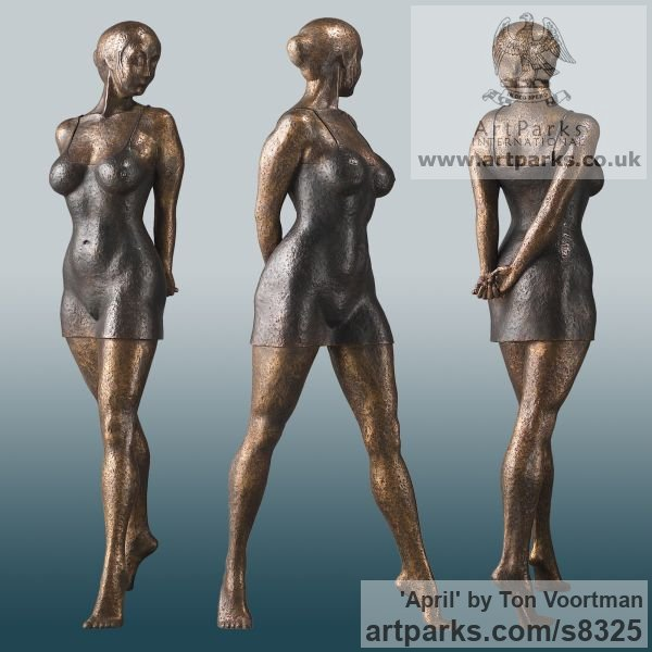 Bronze Garden Or Yard / Outside and Outdoor sculpture by sculptor Ton Voortman titled: 'April (Fit Young Woman Outdoor garden or Inside Interior sculpture)'