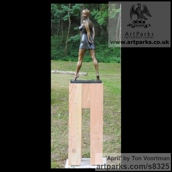 Bronze Garden Or Yard / Outside and Outdoor sculpture by sculptor Ton Voortman titled: 'April (Fit Young Woman Outdoor garden or Inside Interior sculpture)' - Artwork View 2