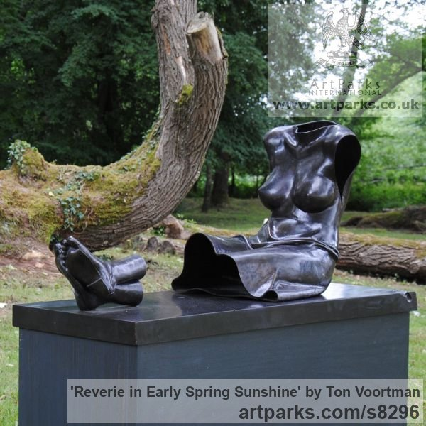 Bronze Garden Or Yard / Outside and Outdoor sculpture by sculptor Ton Voortman titled: 'Reverie in an early Spring Sunshine (Reclining Empty Dress statue)' - Artwork View 4