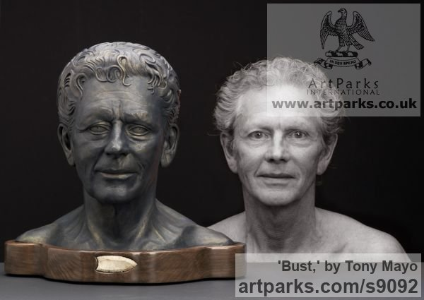 Ceramic, Canadian giant maple, flint Portrait Sculptures / Commission or Bespoke or Customised sculpture by sculptor Tony Mayo titled: 'Bust, (Self-Portrait Commission Custom Bespoke statue)' - Artwork View 2