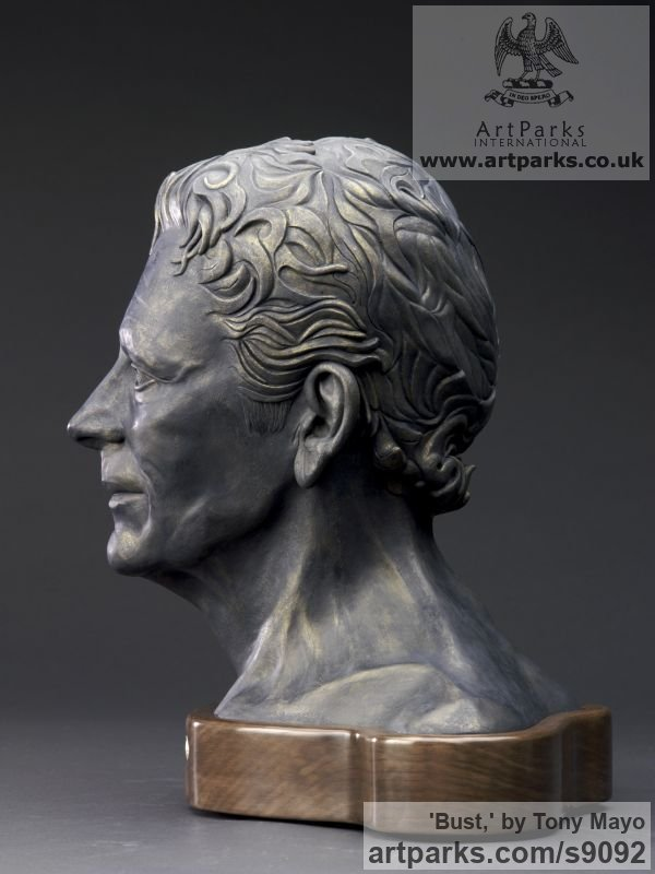 Ceramic, Canadian giant maple, flint Portrait Sculptures / Commission or Bespoke or Customised sculpture by sculptor Tony Mayo titled: 'Bust, (Self-Portrait Commission Custom or Bespoke statue)' - Artwork View 3