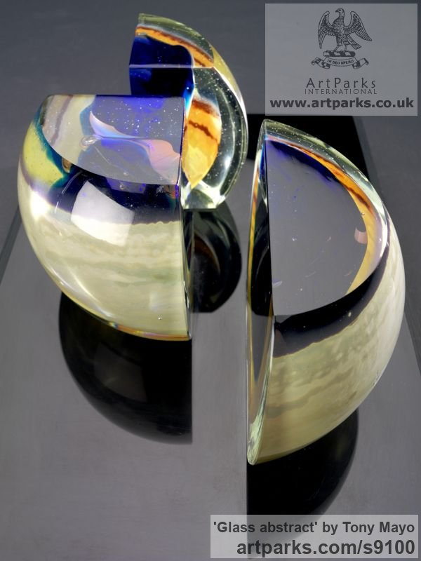 Glass, wood, plexiglass Spiral Twisted sculpture / statue / carving sculpture by sculptor Tony Mayo titled: 'Glass abstract (Coloured abstract Contemporary statuette)' - Artwork View 3