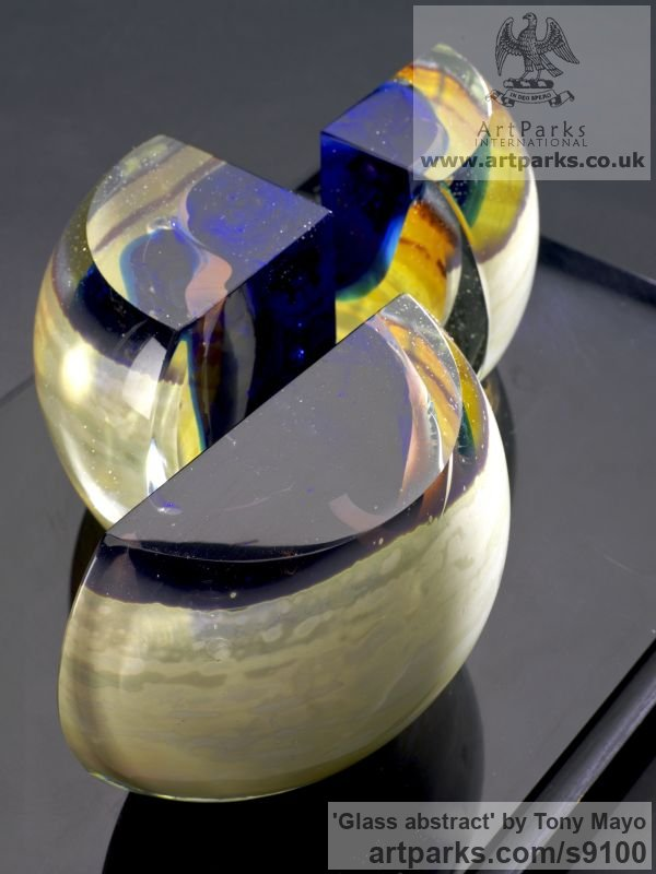 Glass, wood, plexiglass Spiral Twisted sculpture / statue / carving sculpture by sculptor Tony Mayo titled: 'Glass abstract (Coloured abstract Contemporary statuette)' - Artwork View 4