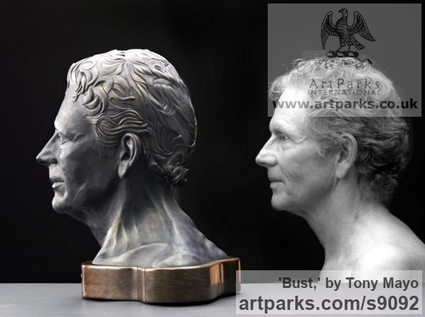 Ceramic, Canadian giant maple, flint Portrait Sculptures / Commission or Bespoke or Customised sculpture by sculptor Tony Mayo titled: 'Bust, (Self-Portrait Commission Custom Bespoke statue)'