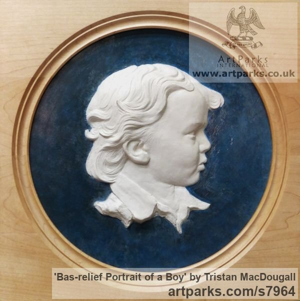 Coloured earthenware in a turned frame Wall Mounted or Wall Hanging sculpture by sculptor Tristan MacDougall titled: 'Bas-relief Portrait of a Boy (ceramic custom Bespoke Commission Panel)'