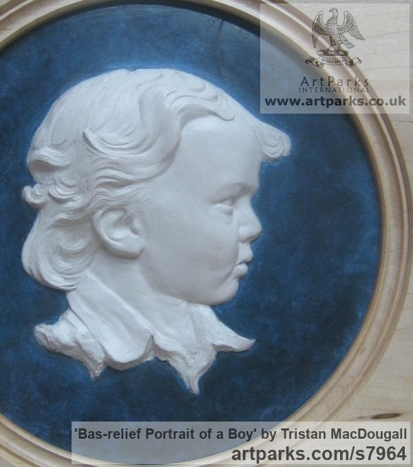Coloured earthenware in a turned frame Wall Mounted or Wall Hanging sculpture by sculptor Tristan MacDougall titled: 'Bas-relief Portrait of a Boy (ceramic custom Bespoke Commission Panel)' - Artwork View 2