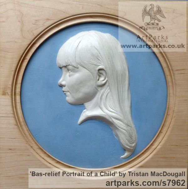Coloured earthenware in a turned frame Children Child Babies Infants Toddlers Kids sculpture statuettes figurines sculpture by sculptor Tristan MacDougall titled: 'Bas-relief Portrait of a Child (Bust Head Face Relief Child Portrait)'