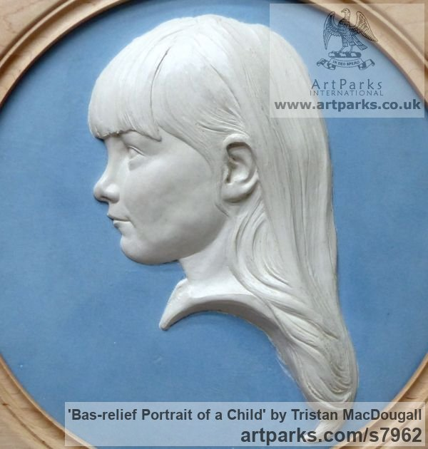 Coloured earthenware in a turned frame Children Child Babies Infants Toddlers Kids sculpture statuettes figurines sculpture by sculptor Tristan MacDougall titled: 'Bas-relief Portrait of a Child (Bust Head Face Relief Child Portrait)' - Artwork View 2