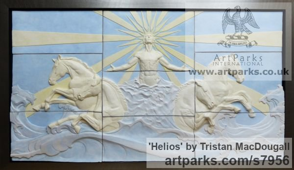 Coloured earthenware Wall Mounted or Wall Hanging sculpture by sculptor Tristan MacDougall titled: 'Helios (Sun God and ChariotBIg Large Wall Panel Bas Relief sculpture)'