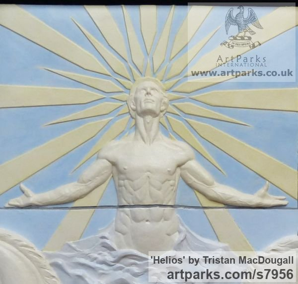 Coloured earthenware Wall Mounted or Wall Hanging sculpture by sculptor Tristan MacDougall titled: 'Helios (Sun God and ChariotBIg Large Wall Panel Bas Relief sculpture)' - Artwork View 2