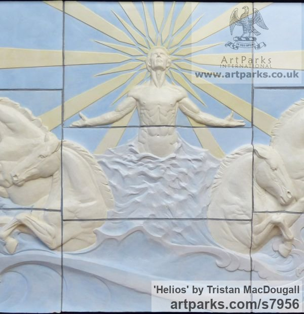 Coloured earthenware Wall Mounted or Wall Hanging sculpture by sculptor Tristan MacDougall titled: 'Helios (Sun God and ChariotBIg Large Wall Panel Bas Relief sculpture)' - Artwork View 5