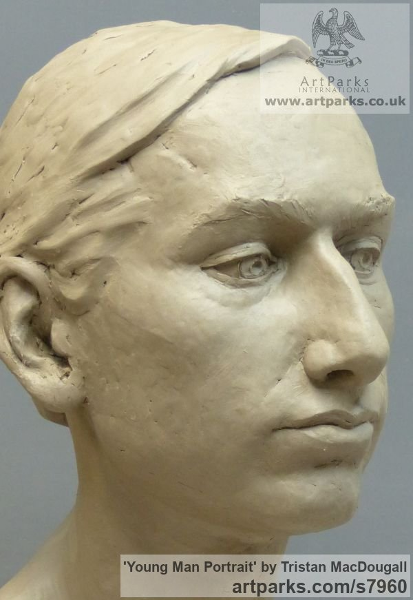 Clay Male Men Youths Masculine sculpturettes figurines sculpture by sculptor Tristan MacDougall titled: 'Portrait of a Young Man (Commission Custom Bespoke Bust Head stature)'