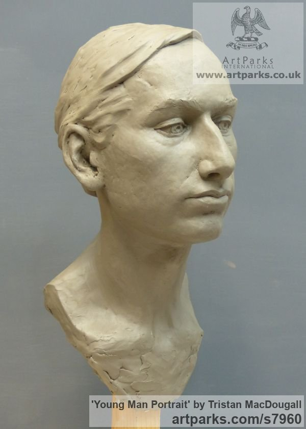 Clay Male Men Youths Masculine sculpturettes figurines sculpture by sculptor Tristan MacDougall titled: 'Portrait of a Young Man (Commission Custom Bespoke Bust Head stature)' - Artwork View 2