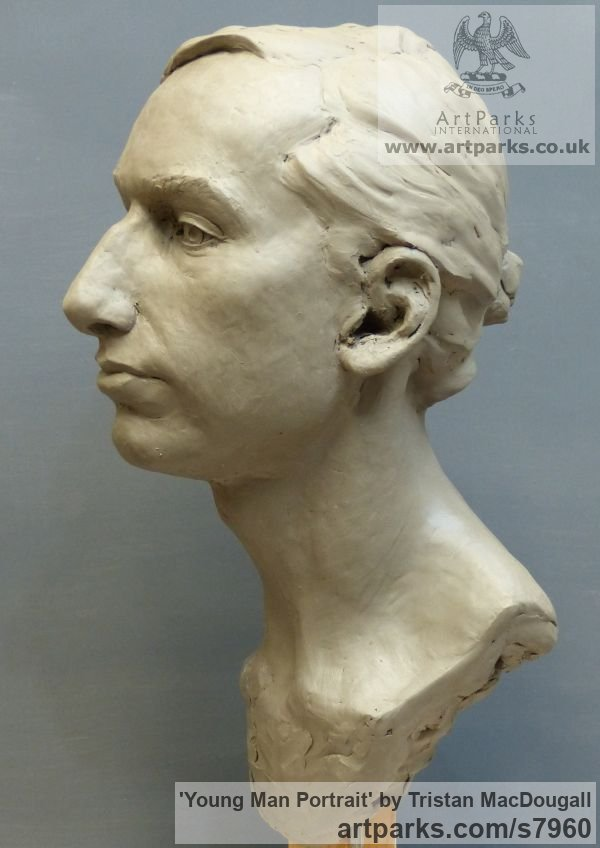 Clay Male Men Youths Masculine sculpturettes figurines sculpture by sculptor Tristan MacDougall titled: 'Portrait of a Young Man (Commission Custom Bespoke Bust Head stature)' - Artwork View 3