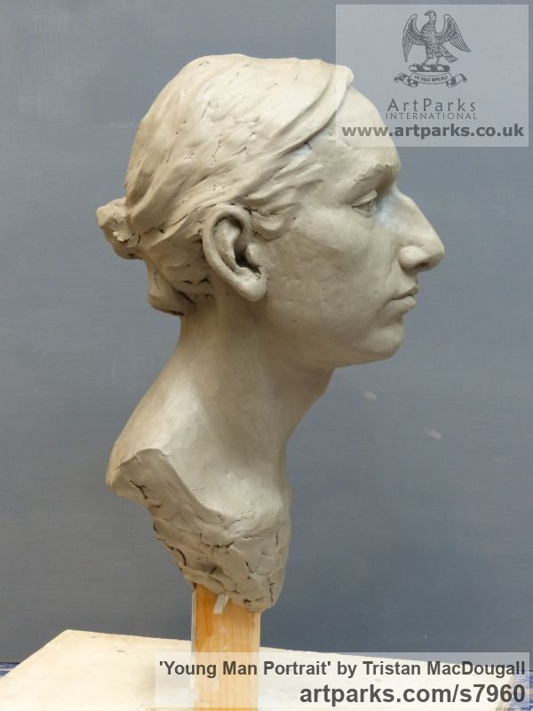 Clay Male Men Youths Masculine sculpturettes figurines sculpture by sculptor Tristan MacDougall titled: 'Portrait of a Young Man (Commission Custom Bespoke Bust Head stature)' - Artwork View 4