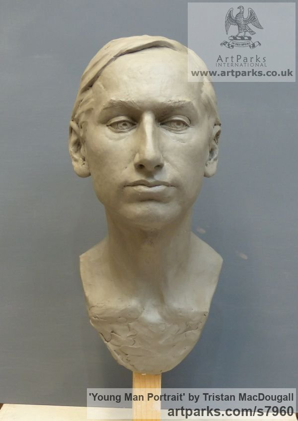 Clay Male Men Youths Masculine sculpturettes figurines sculpture by sculptor Tristan MacDougall titled: 'Portrait of a Young Man (Commission Custom Bespoke Bust Head stature)' - Artwork View 5