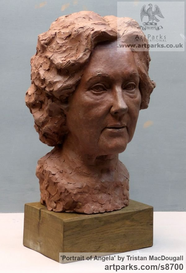 Terracotta Portrait Sculptures / Commission or Bespoke or Customised sculpture by sculptor Tristan MacDougall titled: 'Portrait of Angela (Terra Cotta Portrait Bust statue)'