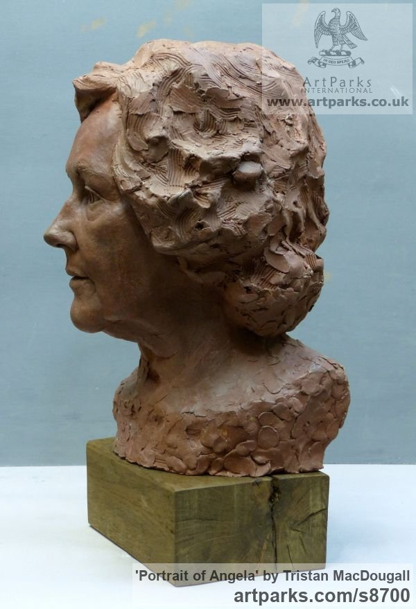 Terracotta Portrait Sculptures / Commission or Bespoke or Customised sculpture by sculptor Tristan MacDougall titled: 'Portrait of Angela (Terra Cotta Portrait Bust statue)' - Artwork View 2