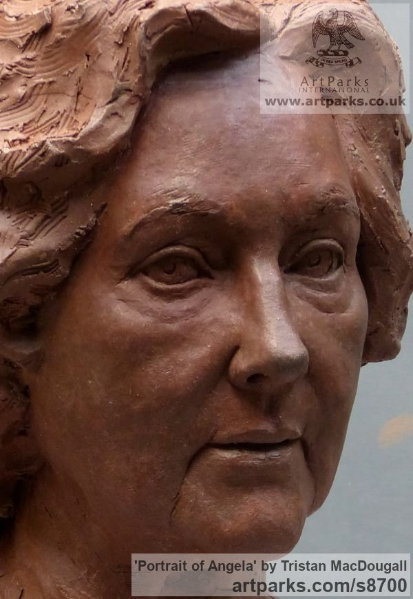 Terracotta Portrait Sculptures / Commission or Bespoke or Customised sculpture by sculptor Tristan MacDougall titled: 'Portrait of Angela (Terra Cotta Portrait Bust statue)' - Artwork View 3
