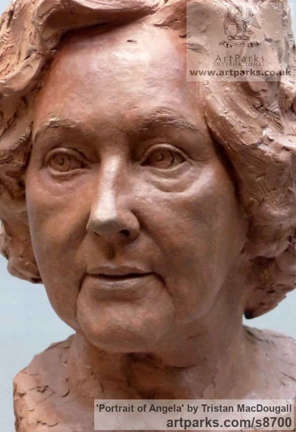 Terracotta Portrait Sculptures / Commission or Bespoke or Customised sculpture by sculptor Tristan MacDougall titled: 'Portrait of Angela (Terra Cotta Portrait Bust statue)' - Artwork View 4