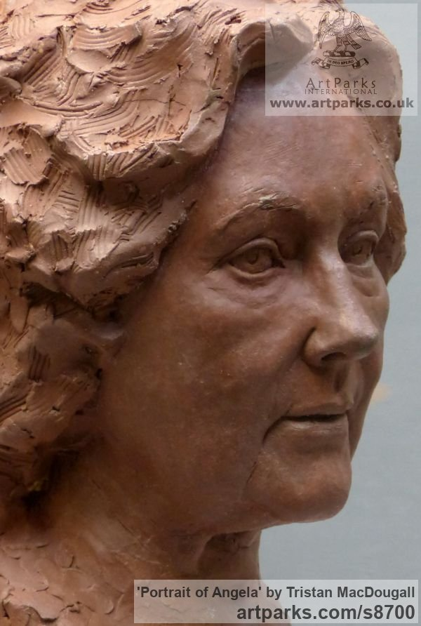 Terracotta Portrait Sculptures / Commission or Bespoke or Customised sculpture by sculptor Tristan MacDougall titled: 'Portrait of Angela (Terra Cotta Portrait Bust statue)' - Artwork View 5