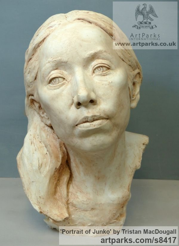 Plaster Portrait Sculptures / Commission or Bespoke or Customised sculpture by sculptor Tristan MacDougall titled: 'Portrait of Junko (Plaster Commission Bust statue)' - Artwork View 5