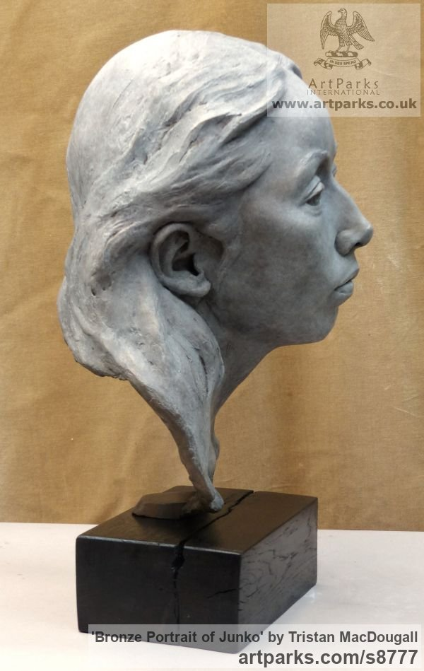 Bronze Portrait Sculptures / Commission or Bespoke or Customised sculpture by sculptor Tristan MacDougall titled: 'Bronze Portrait of Junko (Bronze Bust Head statue)' - Artwork View 2