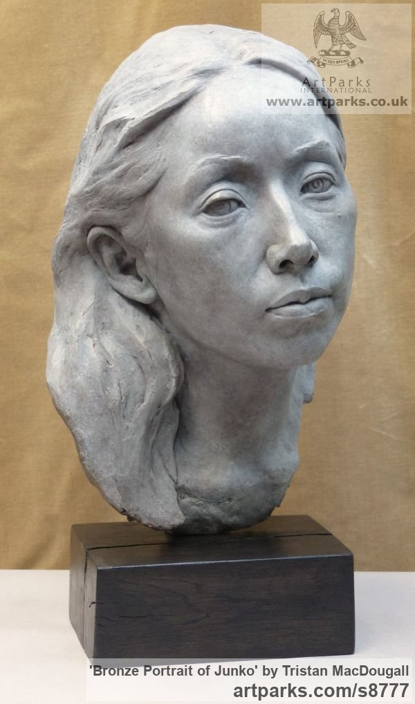 Bronze Portrait Sculptures / Commission or Bespoke or Customised sculpture by sculptor Tristan MacDougall titled: 'Bronze Portrait of Junko (Bronze Bust Head statue)' - Artwork View 4