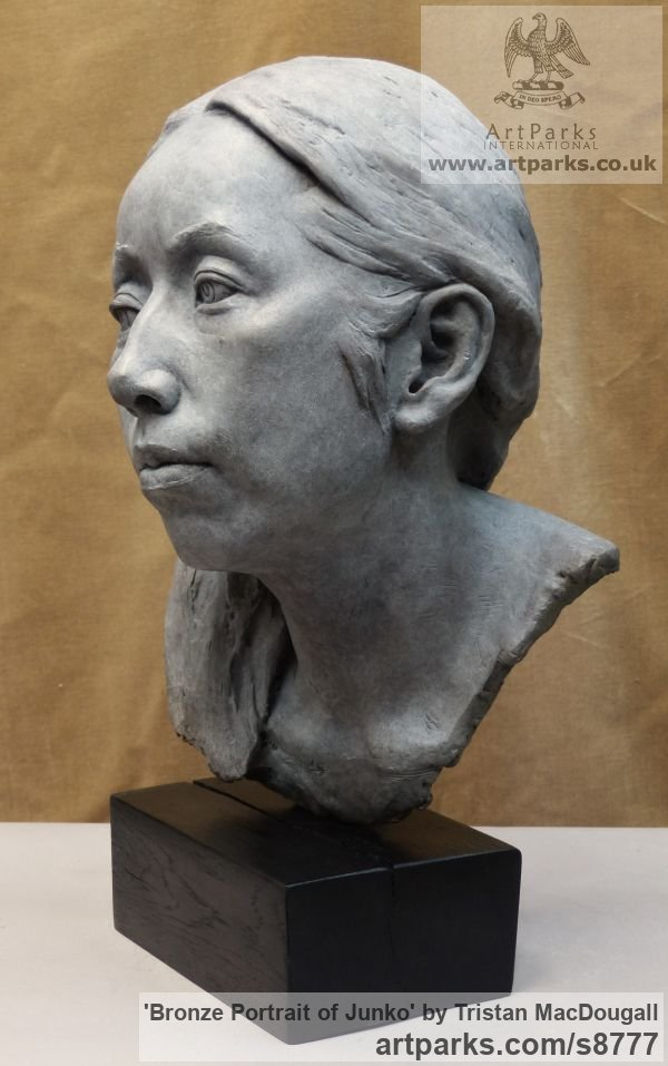Bronze Portrait Sculptures / Commission or Bespoke or Customised sculpture by sculptor Tristan MacDougall titled: 'Bronze Portrait of Junko (Bronze Bust Head statue)' - Artwork View 5