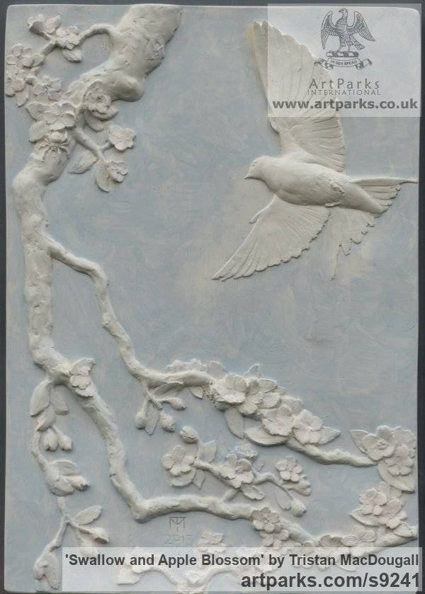 Plaster coloured with oil paint Wall Mounted or Wall Hanging sculpture by sculptor Tristan MacDougall titled: 'Swallow and Apple Blossom (Low Relief Wall panel)'
