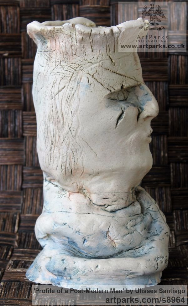 Clay, Fired Ceramics Interior, Indoors, Inside sculpture by sculptor Ulisses Santiago titled: 'Profile of a Post-Modern Man (abstract Face statue)' - Artwork View 2