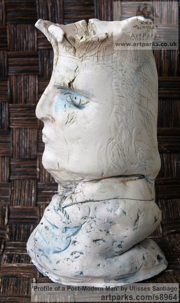 Clay, Fired Ceramics Interior, Indoors, Inside sculpture by sculptor Ulisses Santiago titled: 'Profile of a Post-Modern Man (abstract Face statue)' - Artwork View 3
