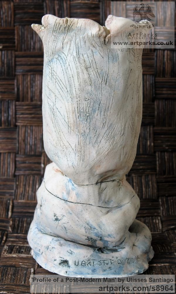 Clay, Fired Ceramics Interior, Indoors, Inside sculpture by sculptor Ulisses Santiago titled: 'Profile of a Post-Modern Man (abstract Face statue)' - Artwork View 4