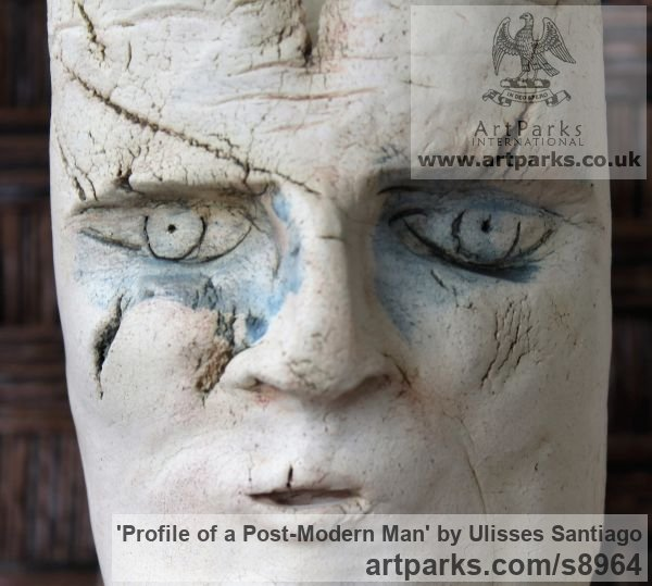Clay, Fired Ceramics Interior, Indoors, Inside sculpture by sculptor Ulisses Santiago titled: 'Profile of a Post-Modern Man (abstract Face statue)' - Artwork View 5