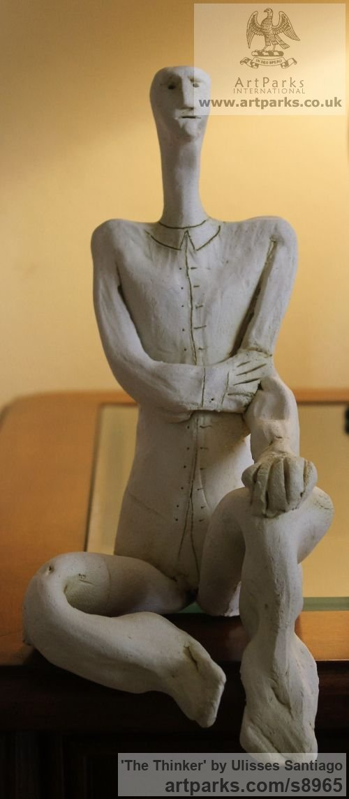 Clay, Fired Ceramics Minimalist Understated Abstract Contemporary Sculpture statuary statuettes sculpture by sculptor Ulisses Santiago titled: 'The Thinker (Little ceramic Kneeling Man statue)'