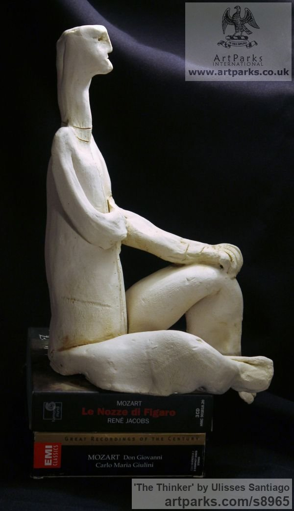 Clay, Fired Ceramics Minimalist Understated Abstract Contemporary Sculpture statuary statuettes sculpture by sculptor Ulisses Santiago titled: 'The Thinker (Little ceramic Kneeling Man statue)' - Artwork View 2