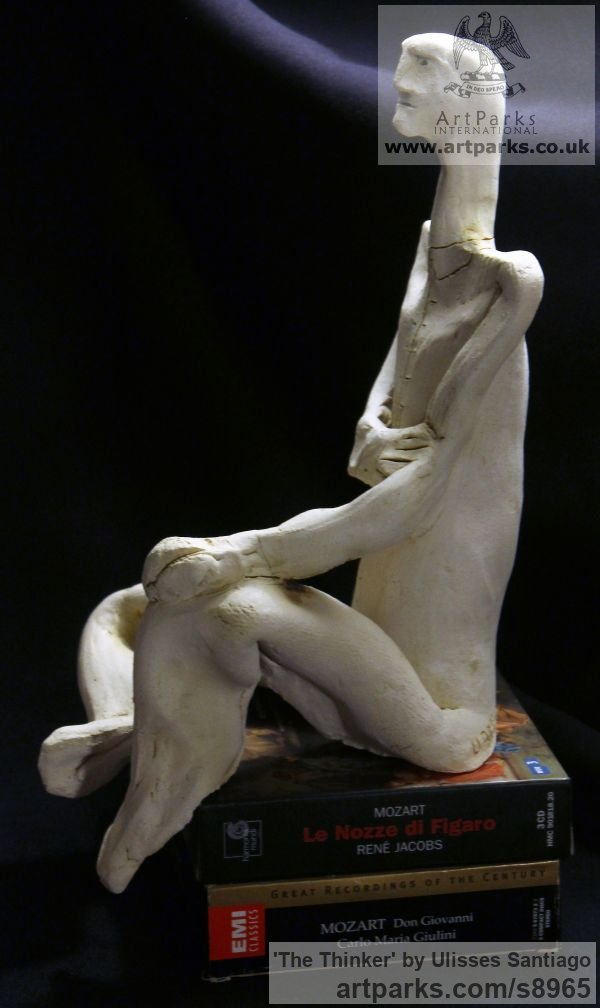 Clay, Fired Ceramics Minimalist Understated Abstract Contemporary Sculpture statuary statuettes sculpture by sculptor Ulisses Santiago titled: 'The Thinker (Little ceramic Kneeling Man statue)' - Artwork View 3