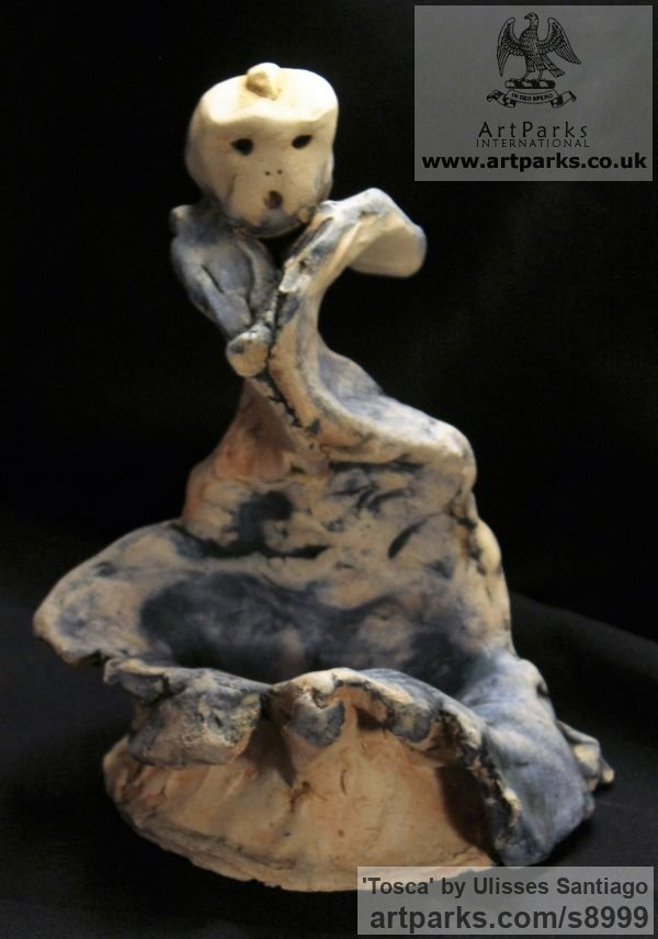 Clay, Fired Ceramics Music Sculpture or sculpture by sculptor Ulisses Santiago titled: 'Tosca (Contemporary Opera Character sculptures)'