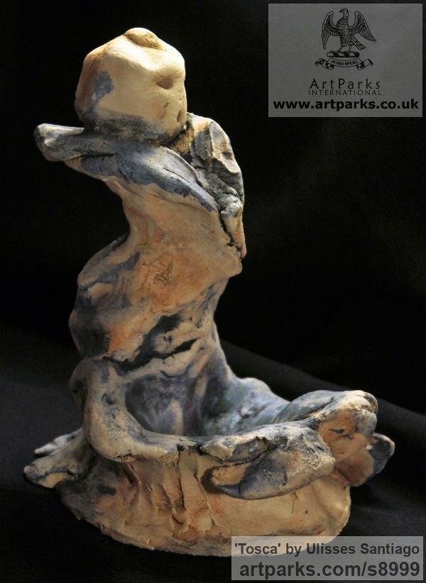 Clay, Fired Ceramics Music Sculpture or sculpture by sculptor Ulisses Santiago titled: 'Tosca (Contemporary Opera Character sculptures)' - Artwork View 2