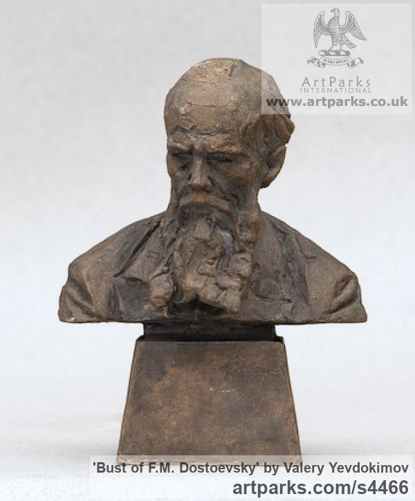 Bronze Portrait Sculptures / Commission or Bespoke or Customised sculpture by sculptor Valery Yevdokimov titled: 'Bust of F.M. Dostoevsky (bronze Portrait statues)'