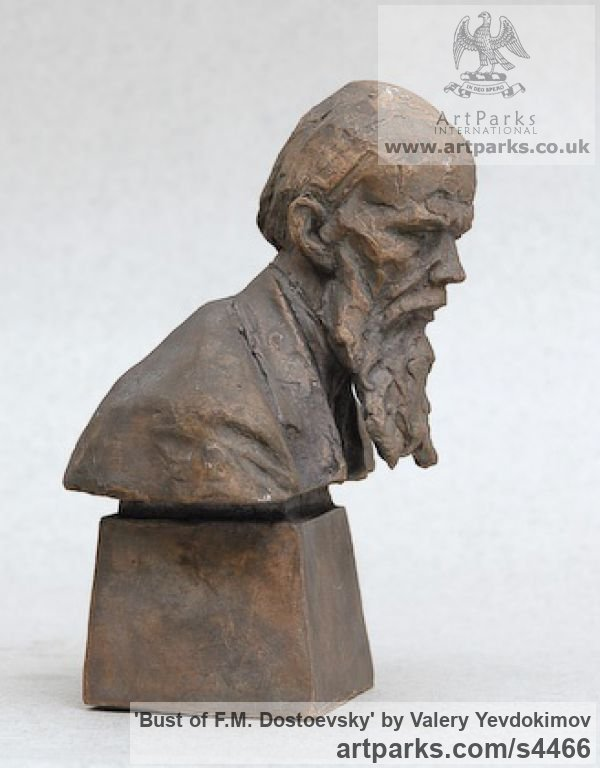 Bronze Portrait Sculptures / Commission or Bespoke or Customised sculpture by sculptor Valery Yevdokimov titled: 'Bust of F.M. Dostoevsky (bronze Portrait statues)' - Artwork View 2