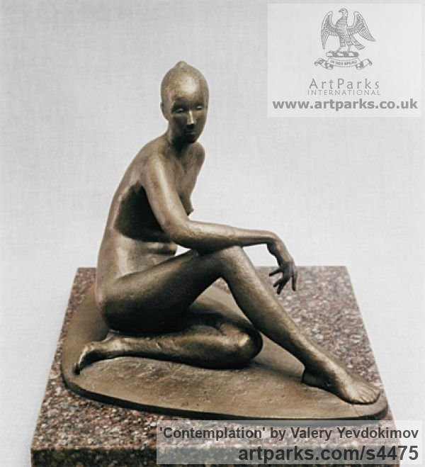 Bronze and Granite Females Women Girls Ladies sculpture statuettes figurines sculpture by sculptor Valery Yevdokimov titled: 'Contemplation (Minimalist Bronze nude Girl statue/statuette/figurine)'