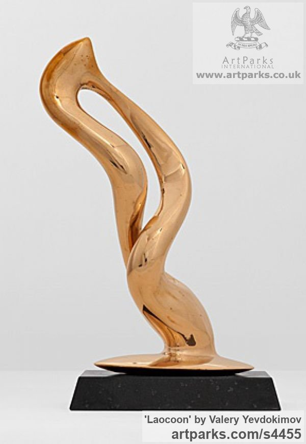 Polished Boronze and Granite Abstract Loop Indoor and Outside Sculptures / Statues / statuettes sculpture by sculptor Valery Yevdokimov titled: 'Laocoon (Small Polished Bronze Contemporary abstract sculpture/statuette)' - Artwork View 4